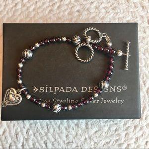 Silpada Garnet Bead Sterling Heart Charm Bracelet